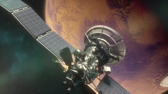 Space Satellites in Mars Orbit: Stock Motion Graphics