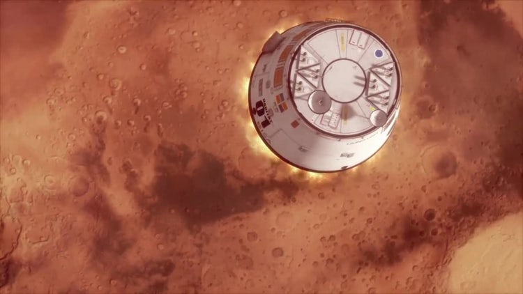 Mars Spaceship Landing: Stock Motion Graphics