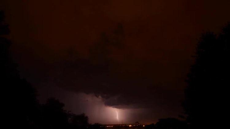 Lighting Rain Storm Over The City: Stock Video