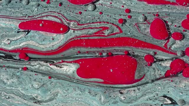Red And Grey Paint Oil Bubbles: Stock Video