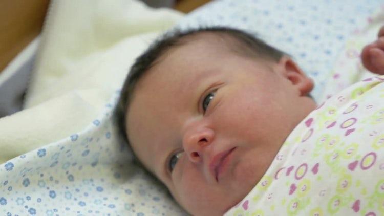 Newborn Baby Waking Up: Stock Video