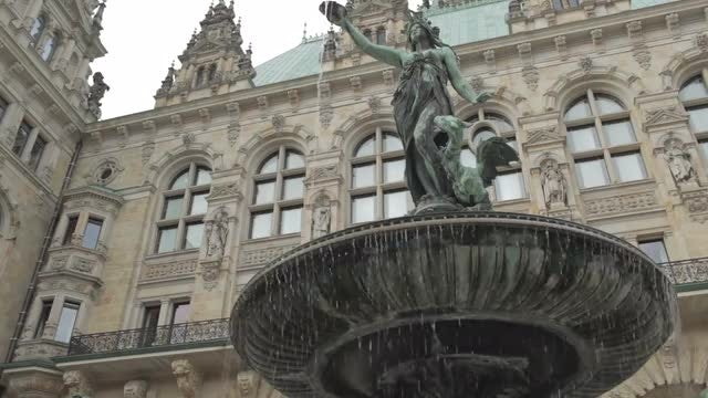 Rathaus Fountain In Hamburg: Stock Video