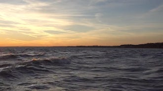 Big Ocean Waves With Beautiful Sunset: Stock Video