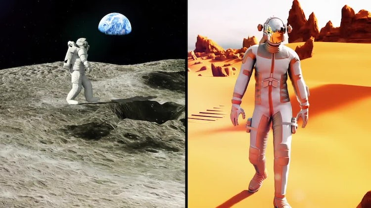 Astronaut On Moon And Mars Pack: Motion Graphics