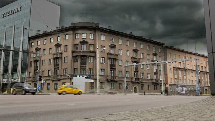 Street Traffic Time-Lapse In Tallinn: Stock Video