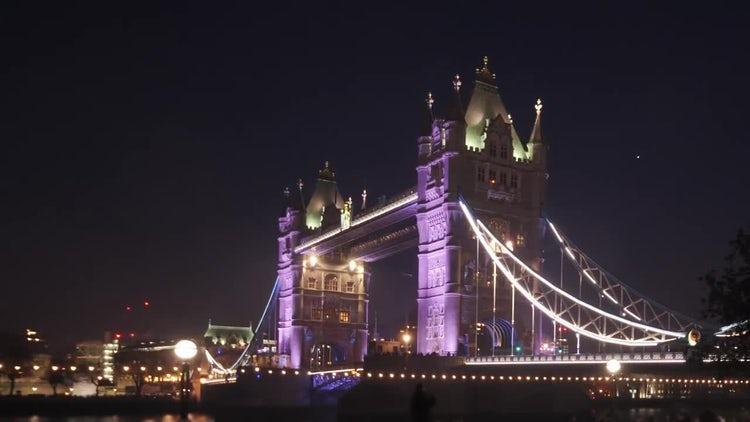London Tower Bridge At Night: Stock Video