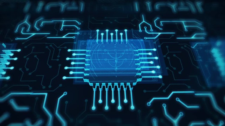 Futuristic Animated Blue Circuit Board: Motion Graphics