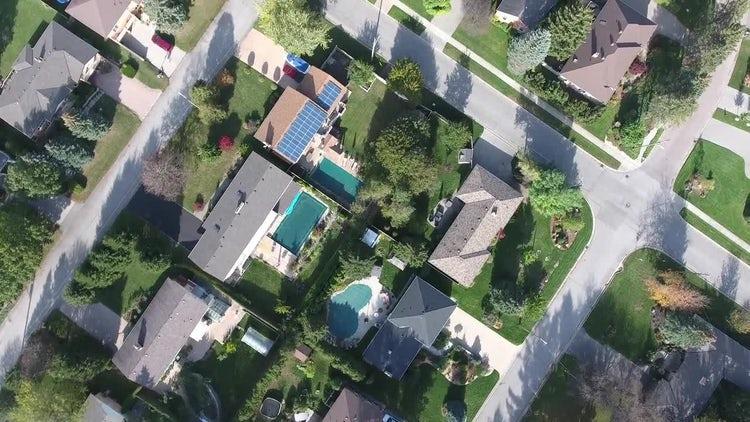 Aerial View of Posh Neighborhood: Stock Video