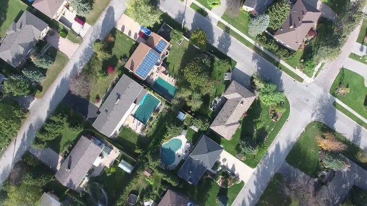 Aerial View of Posh Neighborhood: Stock Video