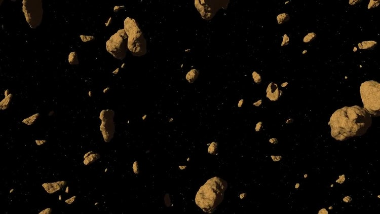 Flying Through An Asteroid Belt: Stock Motion Graphics