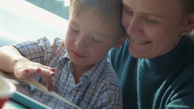 Mother And Son In Train: Stock Video