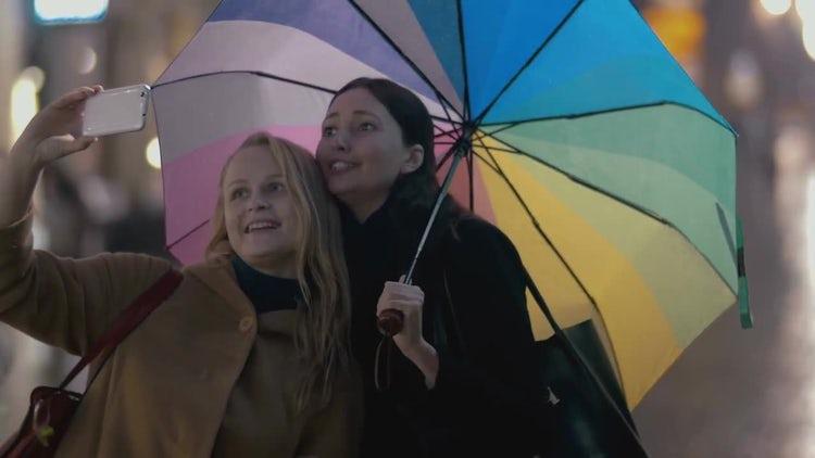 Two Girl Taking Selfies: Stock Video