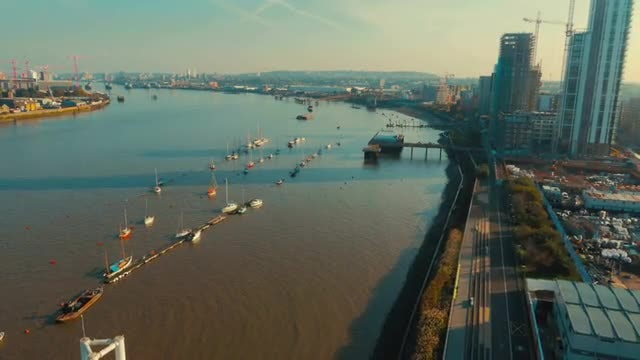 Aerial Shot Of The River Thames In London: Stock Video