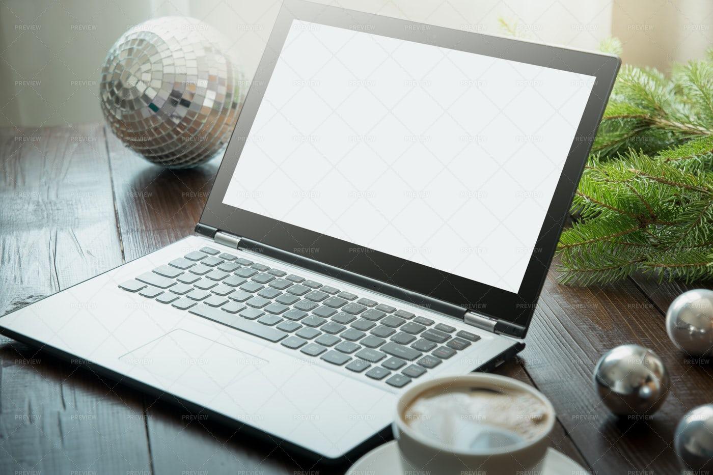 Laptop In Home Interior: Stock Photos