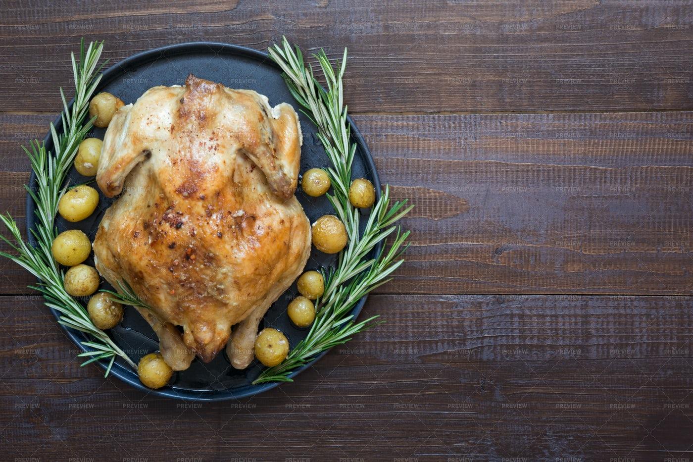 Roast Chicken With Potatoes: Stock Photos