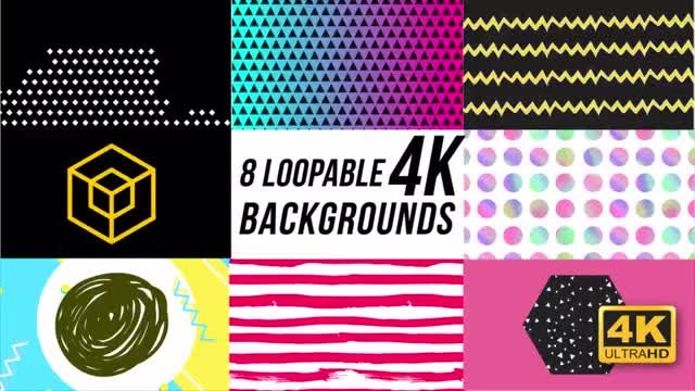 8 Trendy Loopable Backgrounds: Stock Motion Graphics