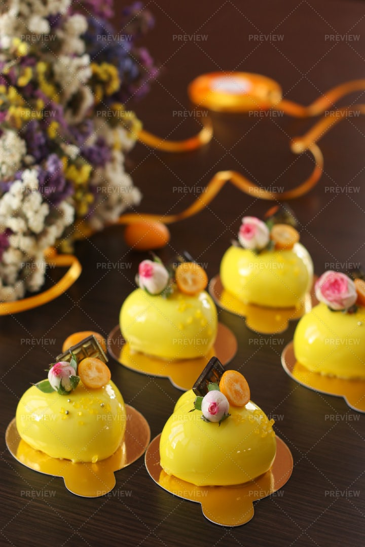 Yellow Mousse Cakes: Stock Photos