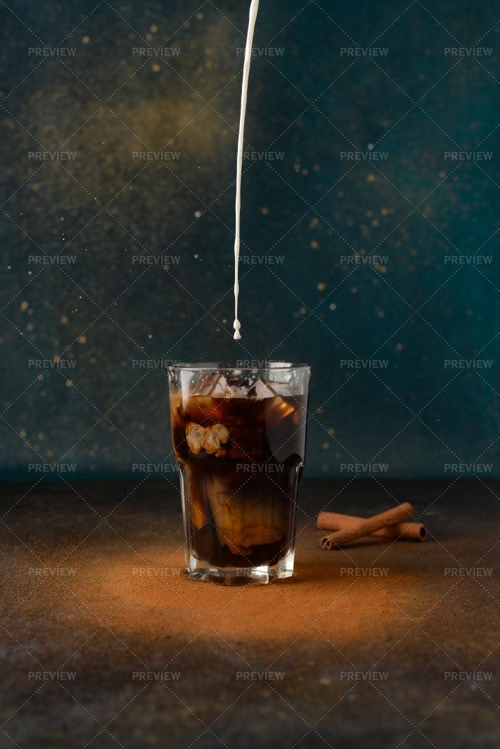 Iced Coffee With Milk: Stock Photos