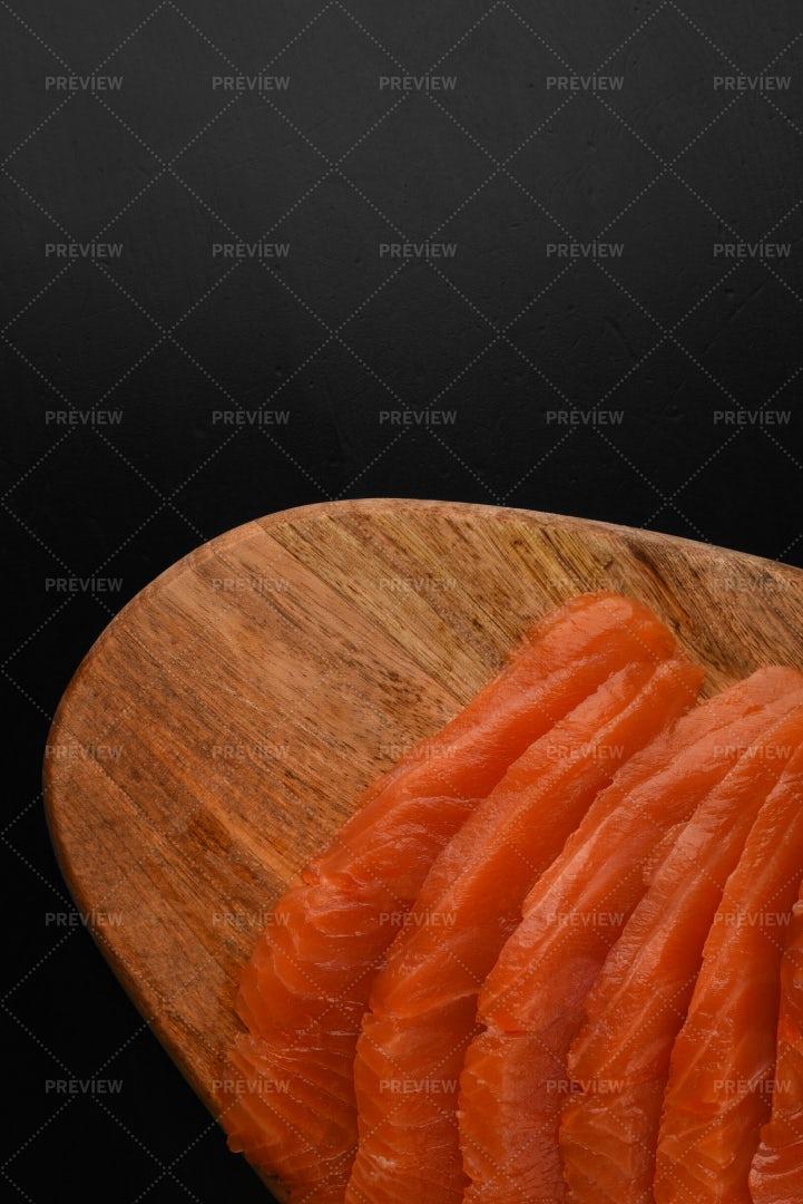Sliced Salmon On A Board: Stock Photos