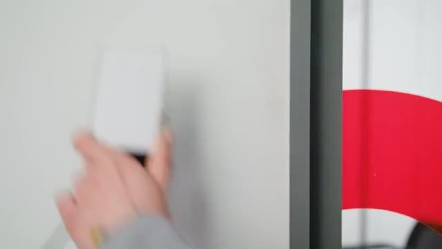Unlocking A Door Access : Stock Video