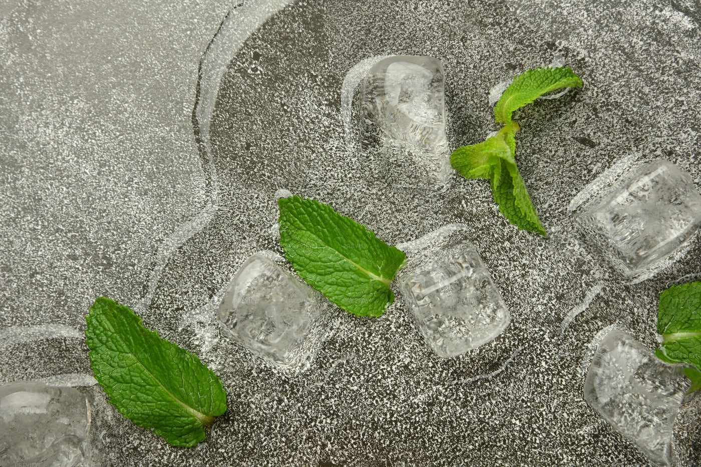 Ice And Mint Leaves: Stock Photos