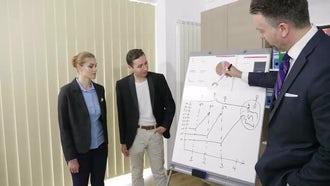 Businessman explaining On White Board: Stock Video