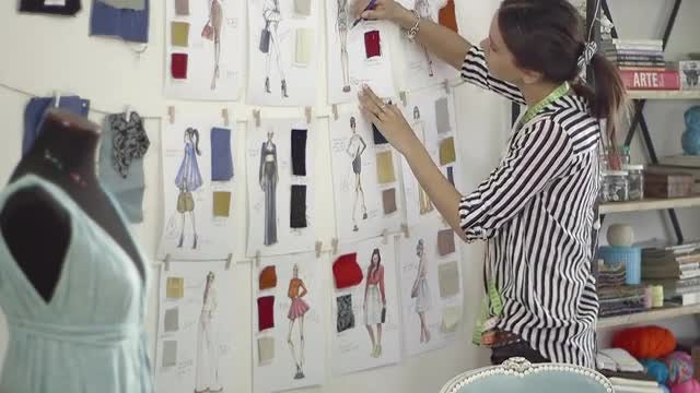 Fashion Designer Working On Sketches: Stock Video