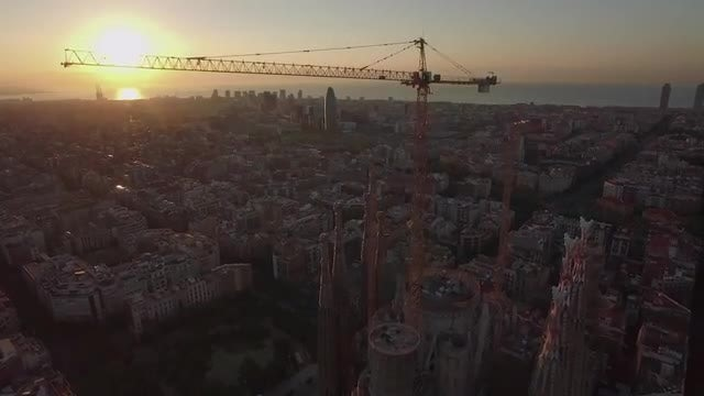 Barcelona At Sunset: Stock Video