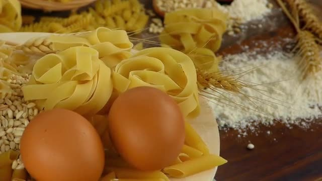 Collection Of Macaroni Pasta Ingredients: Stock Video