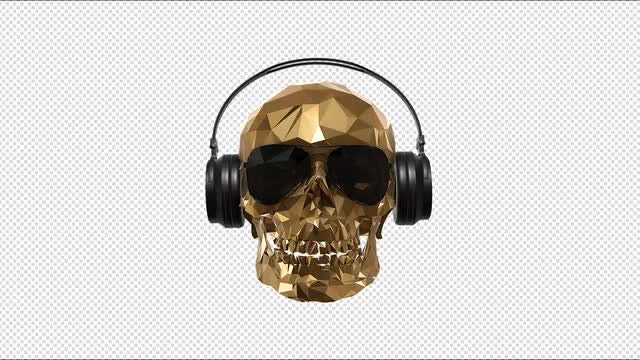 Low Poly Skull With Alpha: Stock Motion Graphics