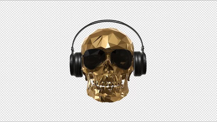 Low Poly Skull With Alpha: Motion Graphics