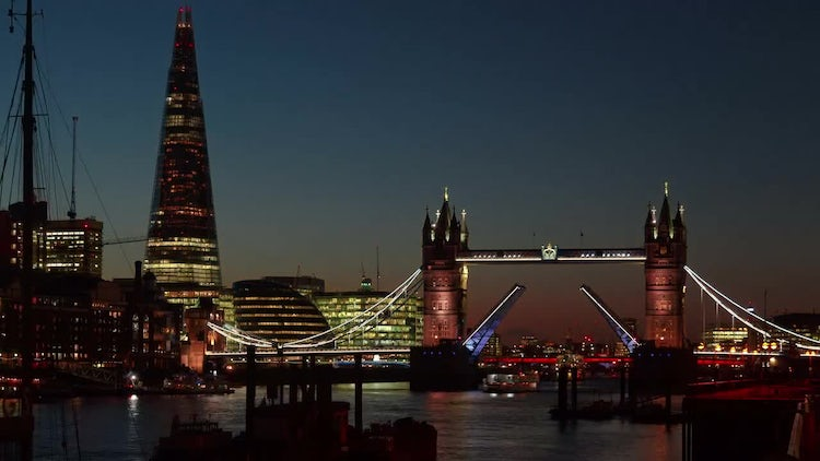 Time-lapse Of Tower Bridge In London: Stock Video