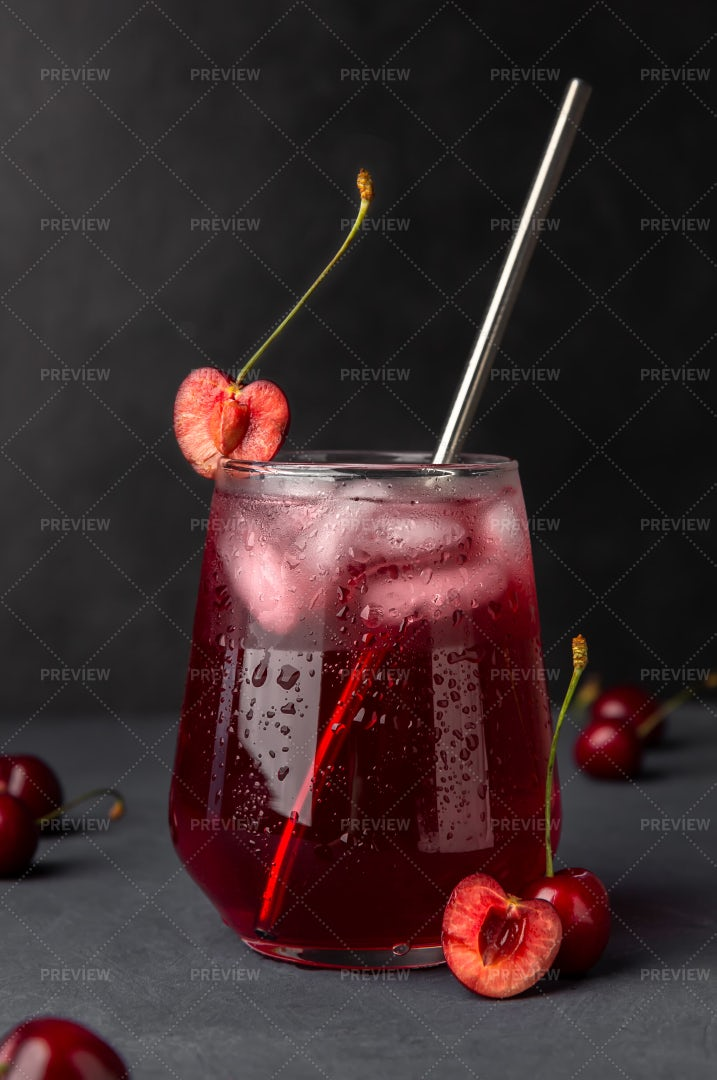 Refreshing Cocktail With Cherries: Stock Photos