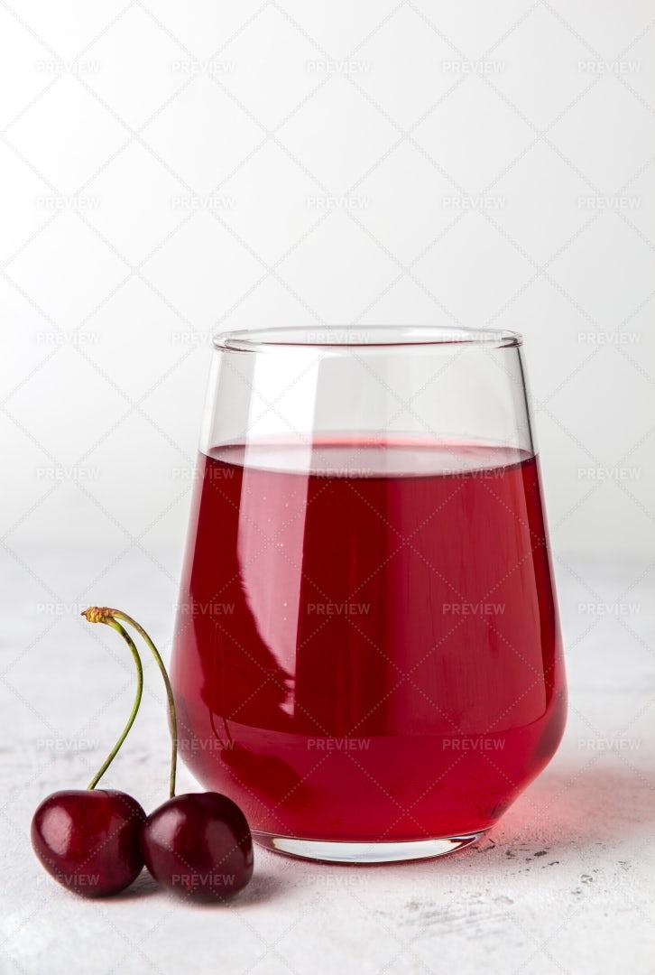 Glass Of Cherry Juice: Stock Photos
