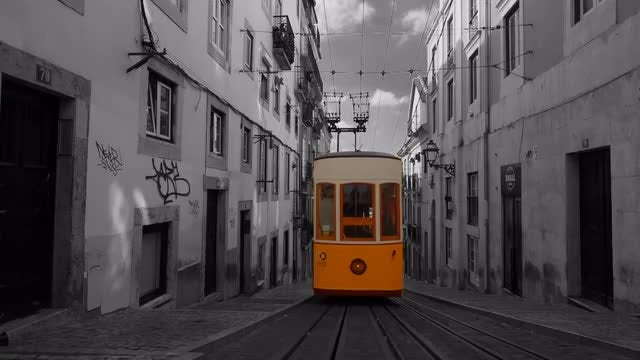 Tram Elevator In Lisbon, Portugal: Stock Video