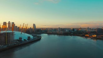 Greenwich Peninsula And Canary Wharf: Stock Video