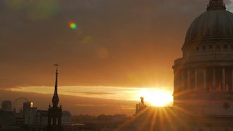 Dramatic Sunset By St Paul's Cathedral: Stock Video
