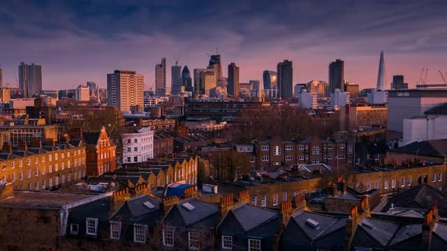 London Skyline Sunset To Nightfall: Stock Video