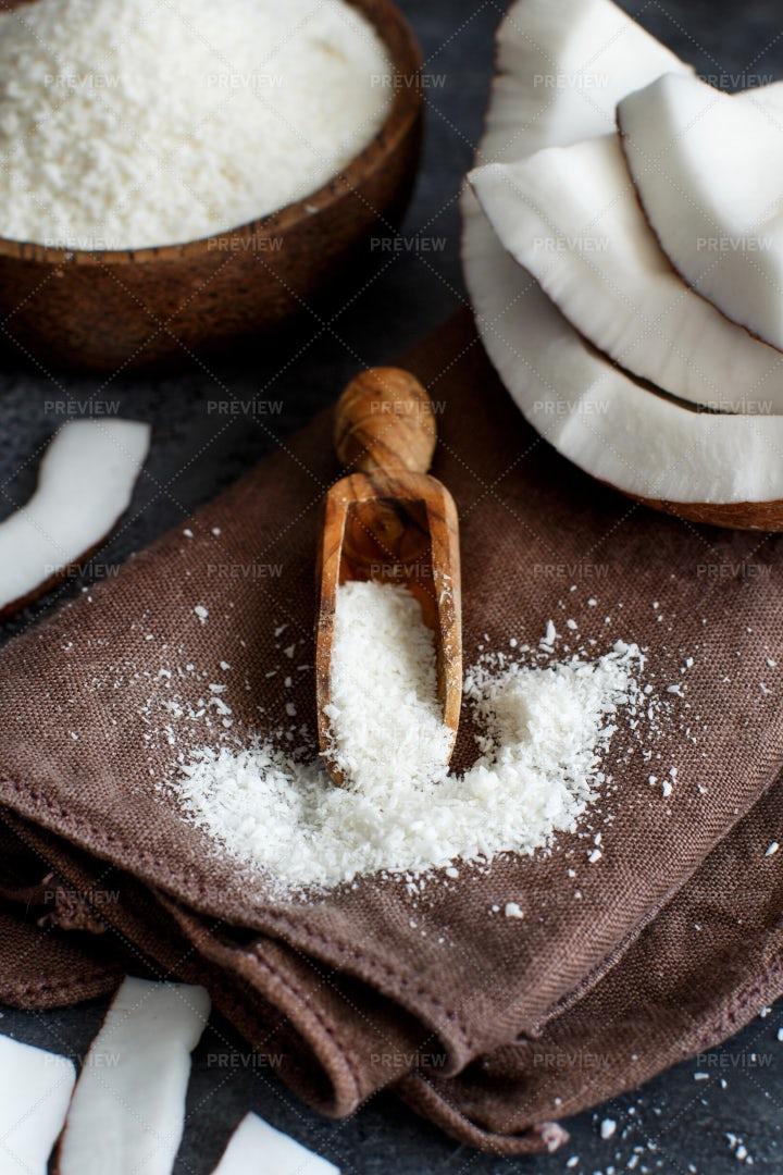 Scoop Of Coconut Flour: Stock Photos