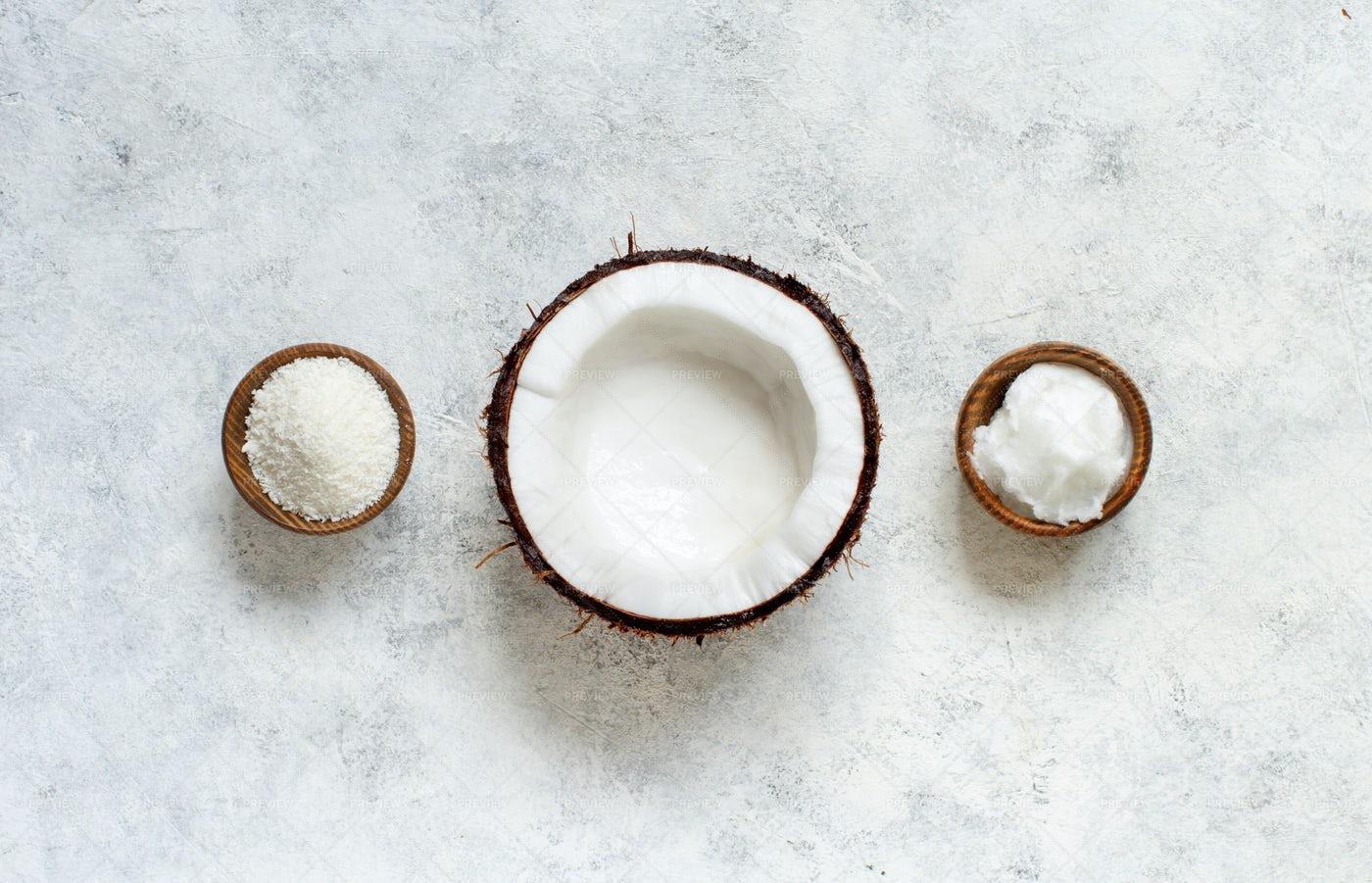 Coconut, Oil And Flour: Stock Photos