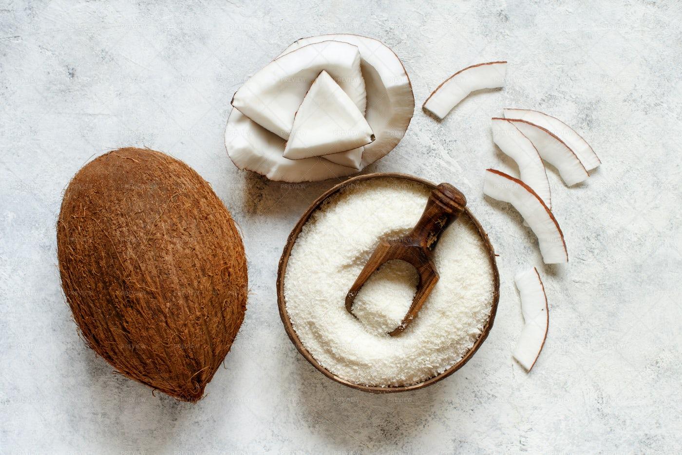 Coconut Flour And Pieces: Stock Photos