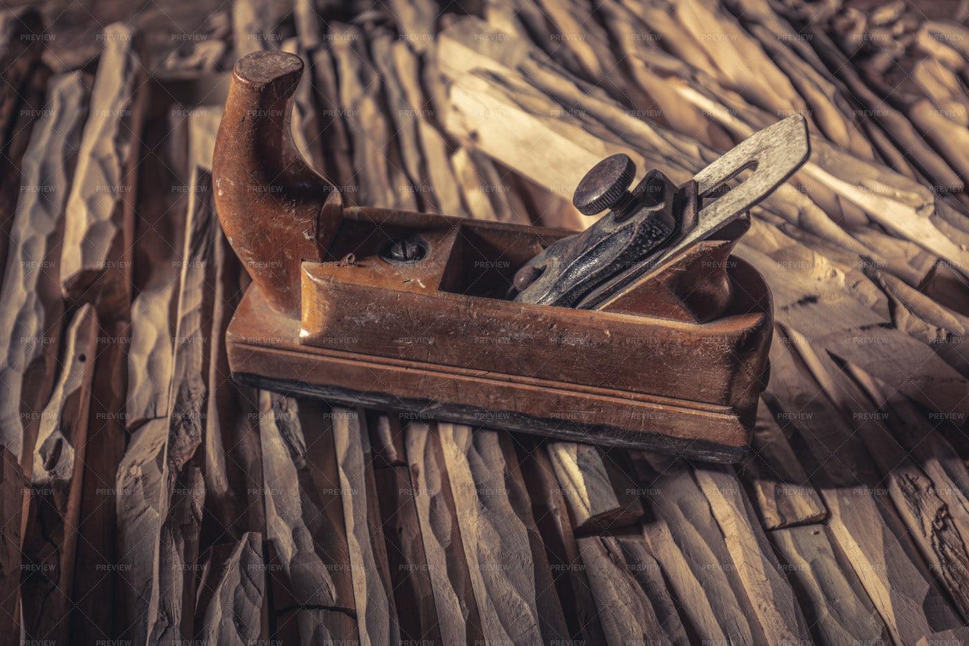 Vintage Wood Planer: Stock Photos