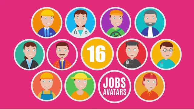 16 Animated Jobs Avatar Icons Pack: After Effects Templates