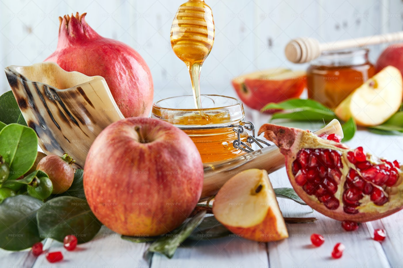 Honey And Red Fruits: Stock Photos
