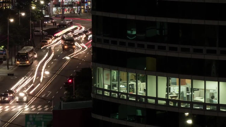 City Traffic At Night. Seoul, South Korea: Stock Video