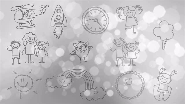 Hand-drawn Children's Doodles : Stock Motion Graphics