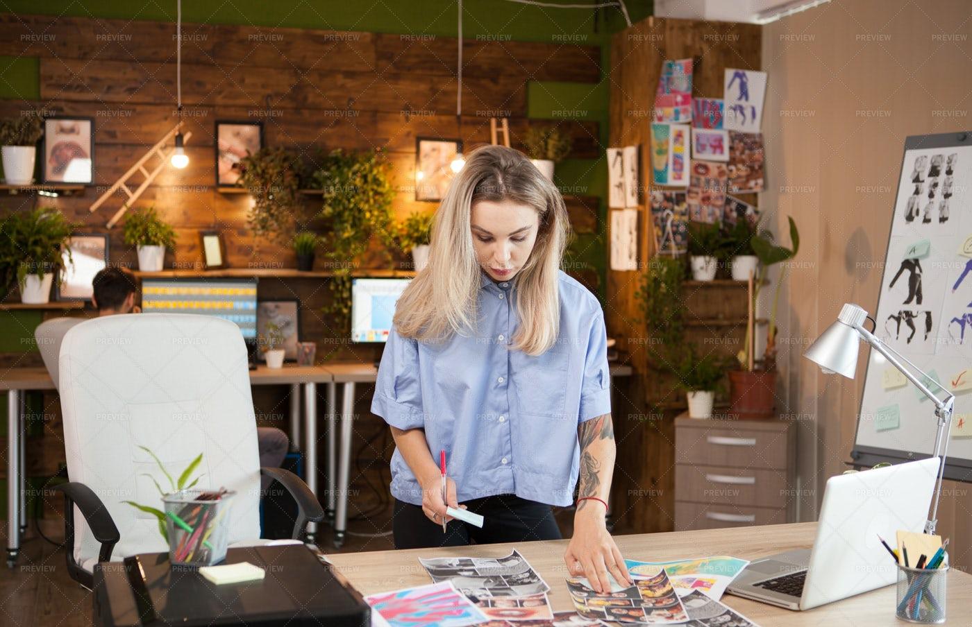 Woman In Creative Office: Stock Photos