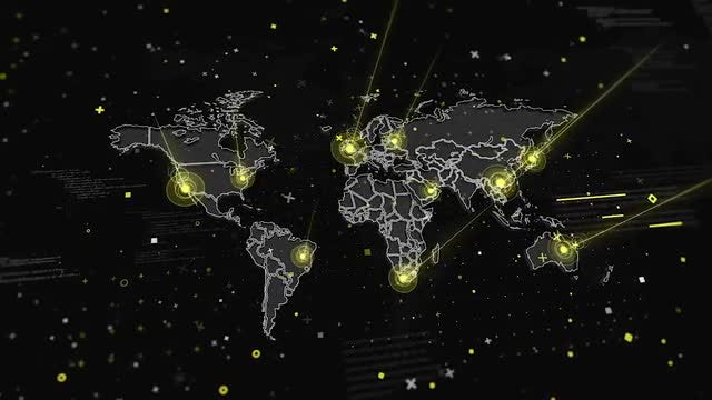 World Map Global Connections: Stock Motion Graphics