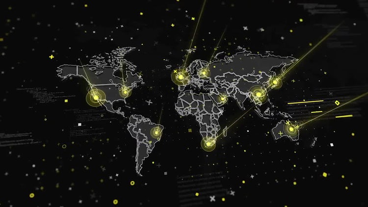 World Map Global Connections: Motion Graphics
