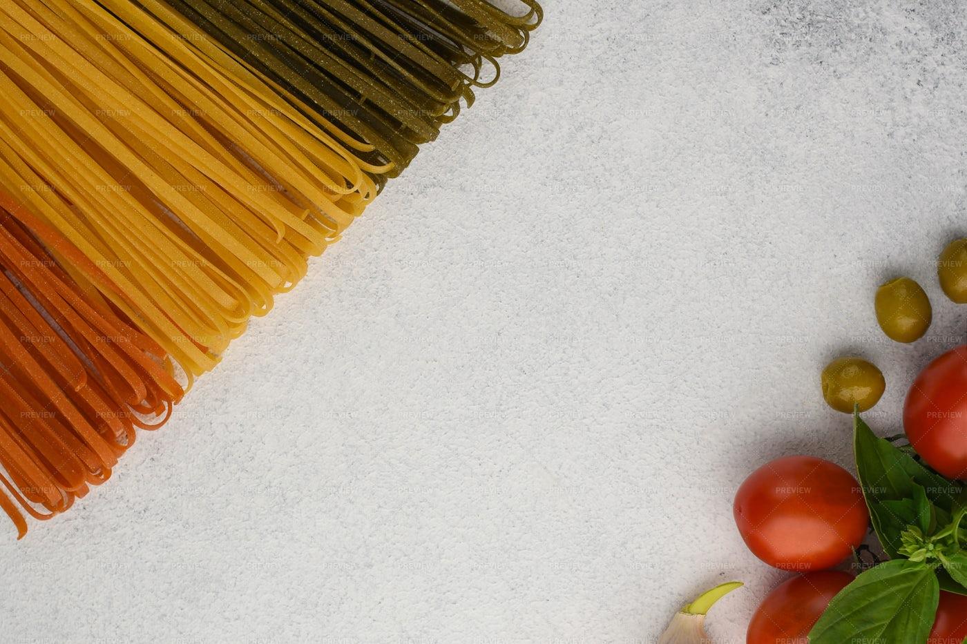 Spaghetti, Tomato And Olives: Stock Photos